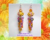 Tangerine Dreams, Orange, Pink, Violet and Green Floral Lampwork Earrings,Long Orange Floral Lampwork Earrings