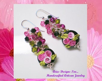 Floral Lampwork Earrings in Fuchsia, Pink, Green and Black,Petite Short Lampowork Earrings in Fuchsia & Black