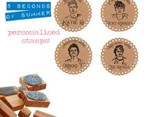 Personalised 5SOS 5 Seconds Of Summer  Olive Wood Stamps 4 Designs Available