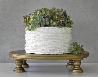 "Gold Cake Stand 14"" Cupcake Vintage Antique Gold Cake Topper Vintage Wedding Decor E. Isabella Designs Featured In Martha Stewart Weddings"