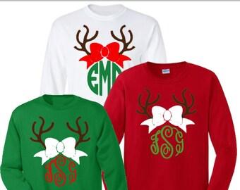 Christmas monogram shirt, YOUTH SIZED,