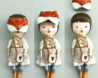 OOAK art doll - Hand sculpted air dry clay doll with fox mask - One of a kind