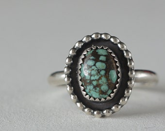 Tiny Turquoise and Sterling Silver Ring, Boho Ring, Boho style, Genuine Turquoise