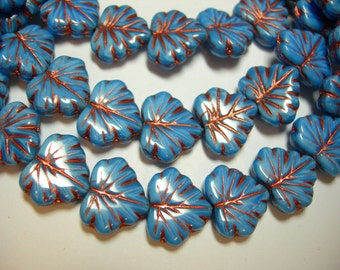 10 beads - Blue with Copper Czech Glass Maple Leaf Beads 11x12mm