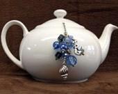Tea Ball Tea Infuser w- Blue Beaded Chain loose tea strainer ball loose tea infuser tea lover gift beach theme sea shell mermaid charms