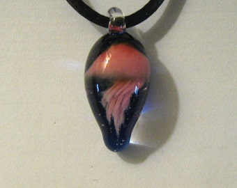 Pink Jellyfish Boro Glass Pendant Lampworked Focal Bead