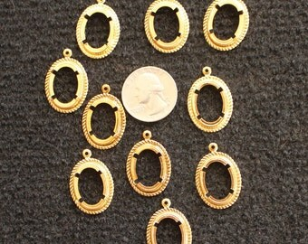 Lot of 10 Gold Plated Oval Bezels w/ Prongs