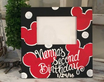 Minnie Mouse Picture Frame or Mickey Mouse Picture Frame - Custom Customize - Happy 1st Birthday frame