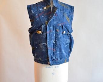 30% off storewide /// Vintage 1980s AVANTE GARDE comet print denim vest