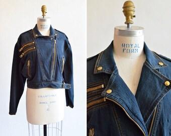 Vintage 1980s DENIM moto jacket