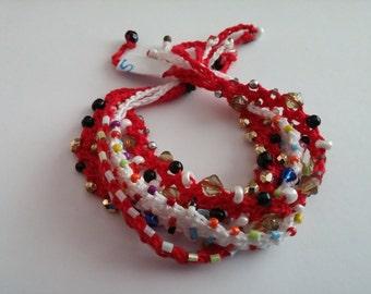 Beaded Crochet Love Knots Bracelet - Group # 05
