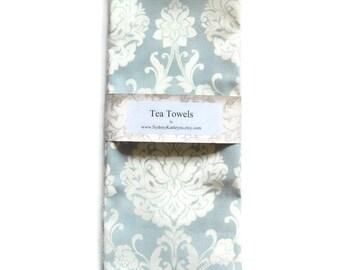 Tea Towels, Aqua Damask, Dish Towels, Set of 2, Decorative Kitchen Towels