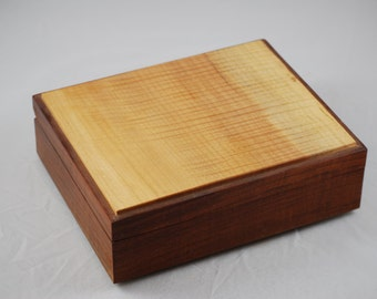 "Impressive Quilted Maple and Walnut Jewelry Box.10"" x8"" x 3"""