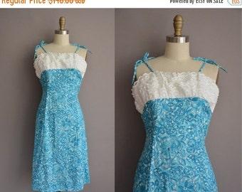 25% off SHOP SALE... 50s eyelet cotton blue print vintage wiggle dress / vintage 1950s dress