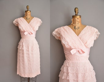 50s pink ruffle tier lace vintage cocktail dress / vintage 1950s dress