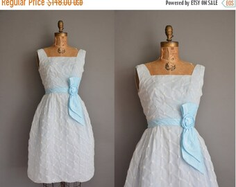 Anniversary SHOP SALE... vintage 1950s dress/50s dress/ baby blue chiffon party dress