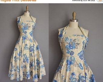 Anniversary SHOP SALE... vintage 1950s dress/50s halter dress/ 50s floral cotton dress