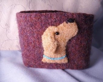 Yellow Lab Golden Labrador Felted Wool Coffee Cozy