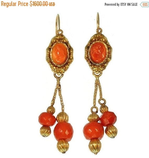 30% Off Sale Coral faceted bead dangle earrings 18kt gold Georgian jewelry ref.09177-4314