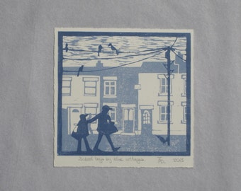 School boys by cottages lino cut print