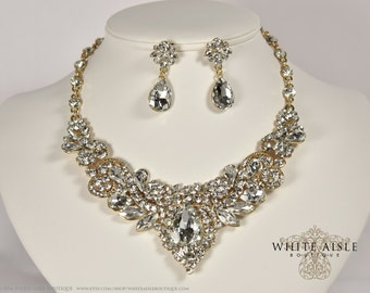 Gold Crystal Wedding Jewelry Set, Vintage Inspired Bridal Necklace, Rhinestone Statement Necklace, Chunky Necklace, Bridal Jewelry