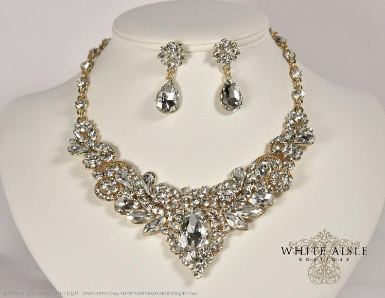 Gold Crystal Wedding Jewelry Set Vintage Inspired Bridal Necklace Rhinestone Statement Chunky