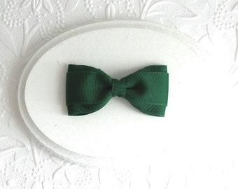 Forest Green Boutique Hair Bow, School Uniform Bow, Simple Christmas Hair Bow, Simple Hair Bow for Girls, Dark Green Bow Tie Style Hair Bow