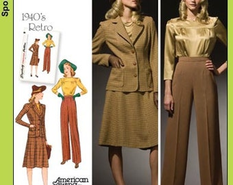 Sz 10/12/14/16/18 - Misses' Jacket, Blouse, Skirt and Pants - Reissued Vintage 1940's Pattern - Simplicity Retro Pattern 3688