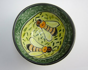 Small Ceramic Serving Bowl - Honey Bee - Pottery Clay Bowl - Majolica - Kitchen Prep - Cereal Bowl - Yellow Green Bumble bee - Ceramic Dish