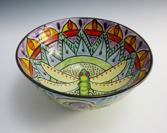 Ceramic Serving Bowl - Dragonfly - Mandala Bowl - Medium Pottery Bowl - Clay Majolica Bowl - Middle Eastern Design - Ornate -