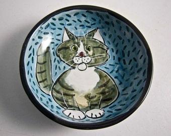 Cat Ceramic Feeding Dish Grey Gray and White Tabby Feeding Bowl Clay Pottery Majolica Handmade on Blue