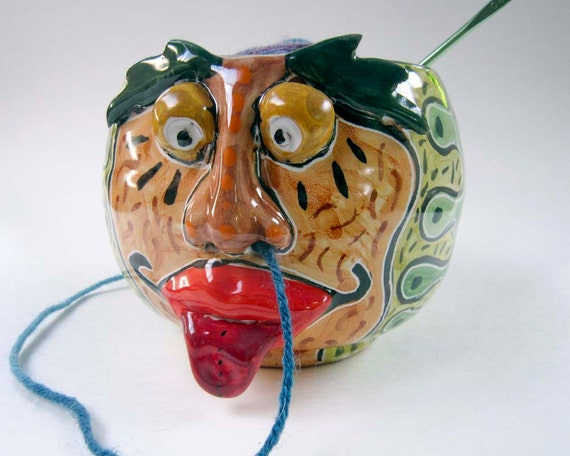 Knitting Bowl Nose : Ceramic yarn bowl pottery clay face green guy