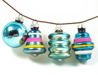 Vintage Set of 12 Christmas Mercury Glass Shiny Brite Ornaments - Fancy Ornaments - Lantern Bell - Teal Blue Pink Yellow White - Made in USA