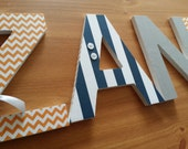 Modern Baby Boy Nursery, Wood Wall Letters. Navy Grey and Orange, Custom Wood Letter, Hanging Name Sign, Trendy Bedroom Decor, Chevron