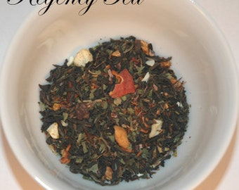 Black, CHOCOLATE VANILLA MINT ~ 4 oz loose leaf tea tin, Flavored black tea blend, Regency Tea