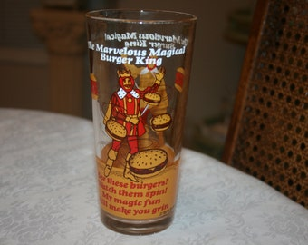 Vintage Burger King Drinking Glass Glassware Tumbler 1978 Burgers