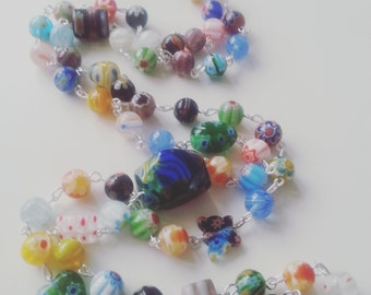 Millefiori, millefiore, beaded, long, necklace, mix colour, hippie, bohemian, flapper, by NewellsJewels on etsy