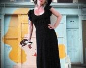 BIG ASS SALE vintage 70s does 30s maxi dress black and cream white Swiss Dot polka dot flutter sleeves open back boho