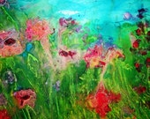 A silk painting for sale, an impressionist garden mounted on a wood framework. pinks, blues, greens