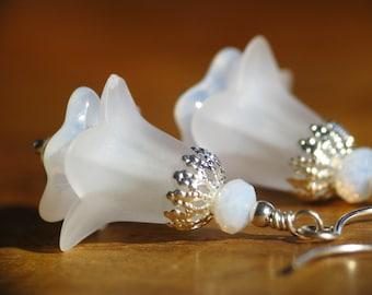 Snow White Lucite Flower Earrings in Silver