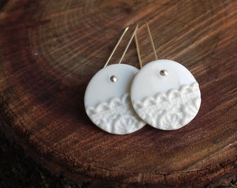 Vintage Lace Porcelain Earrings, Mrs Peterson Pottery