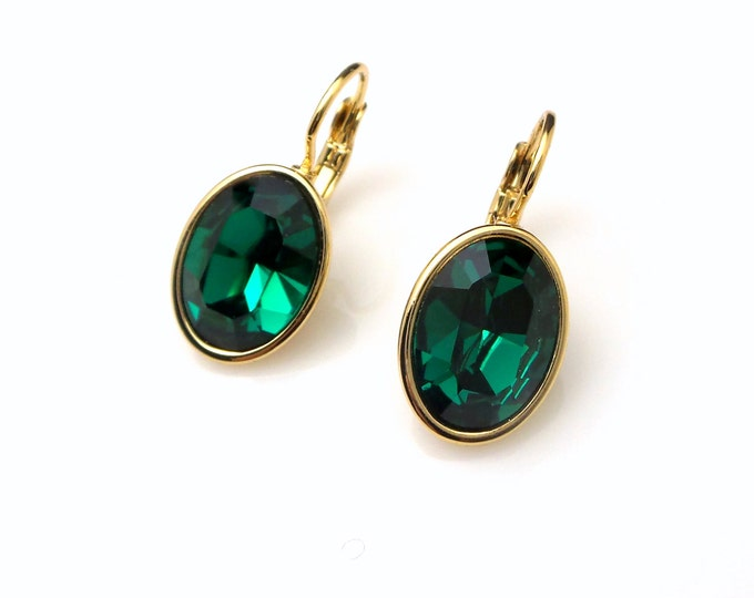 bridal earrings bridesmaid gift wedding jewelry Swarovski emerald green crystal oval rhinestone foiled drop with gold leverback earrings