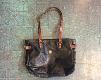 Vintage 80s 90s capezio two toned black and brown tote bag purse // shoulder bag laptop iPad carrier