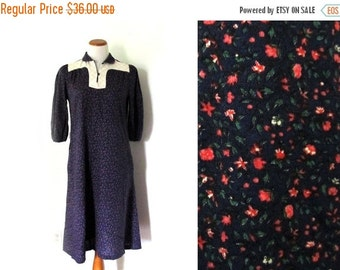 50% OFF SALE vintage dress 60s floral print quilt blue purple pink boho 1960s womens clothing size s m small medium
