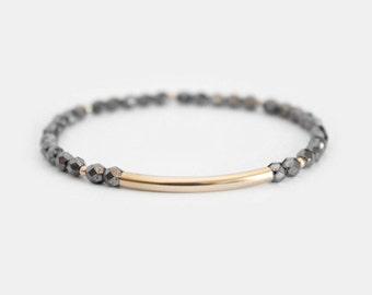 Hematite Beaded Bar Bracelet - Gold Filled or Sterling Silver - Nuelle