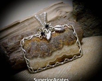 Earth Toned Mexican Crazy Lace Agate Silver Wire Wrapped Gemstone Pendant