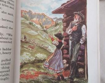 40s vintage book- Heidi - Illustrated Junior Library Edition