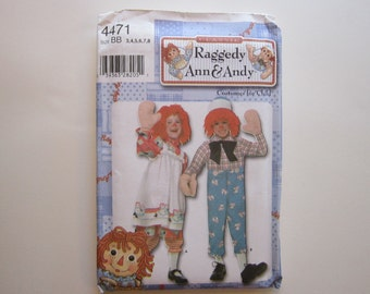pattern - Simplicity 4471 childrens' RAGGEDY ANN and ANDY costume pattern - boys and girls size 3-8, uncut