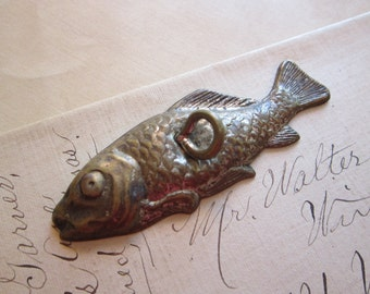 antique embossed fish - patent Aug 10 1886, game piece, feather tree ornament