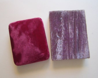 2 vintage velvet covered boxes - velvet jewelry box, presentation box - raspberry and lavendar - Parr's Fine Jewelry Califorinia